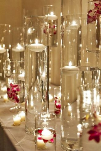 attractive decoration with beautiful glasses and candles