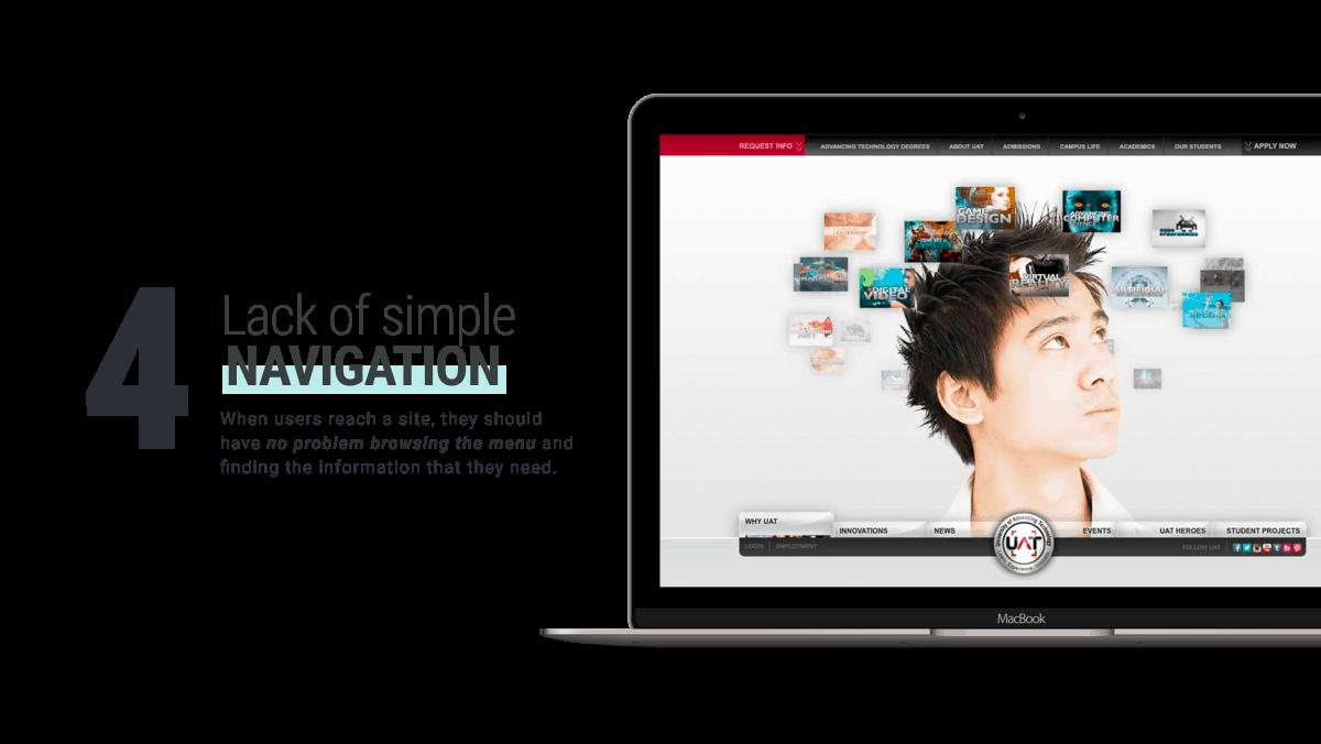 Отсутствие простой навигации и ссылок плохой дизайн веб-сайта от награжденного наградами WANDR Design Agency и Product Strategy