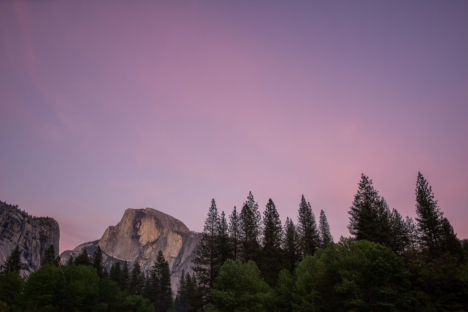 Half Dome at Sunset from a spot just off the Yosemite Village parking area