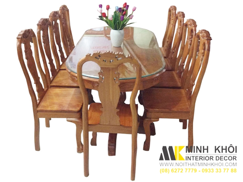 Bộ bàn ăn gỗ tự nhiên 10 ghế BA237