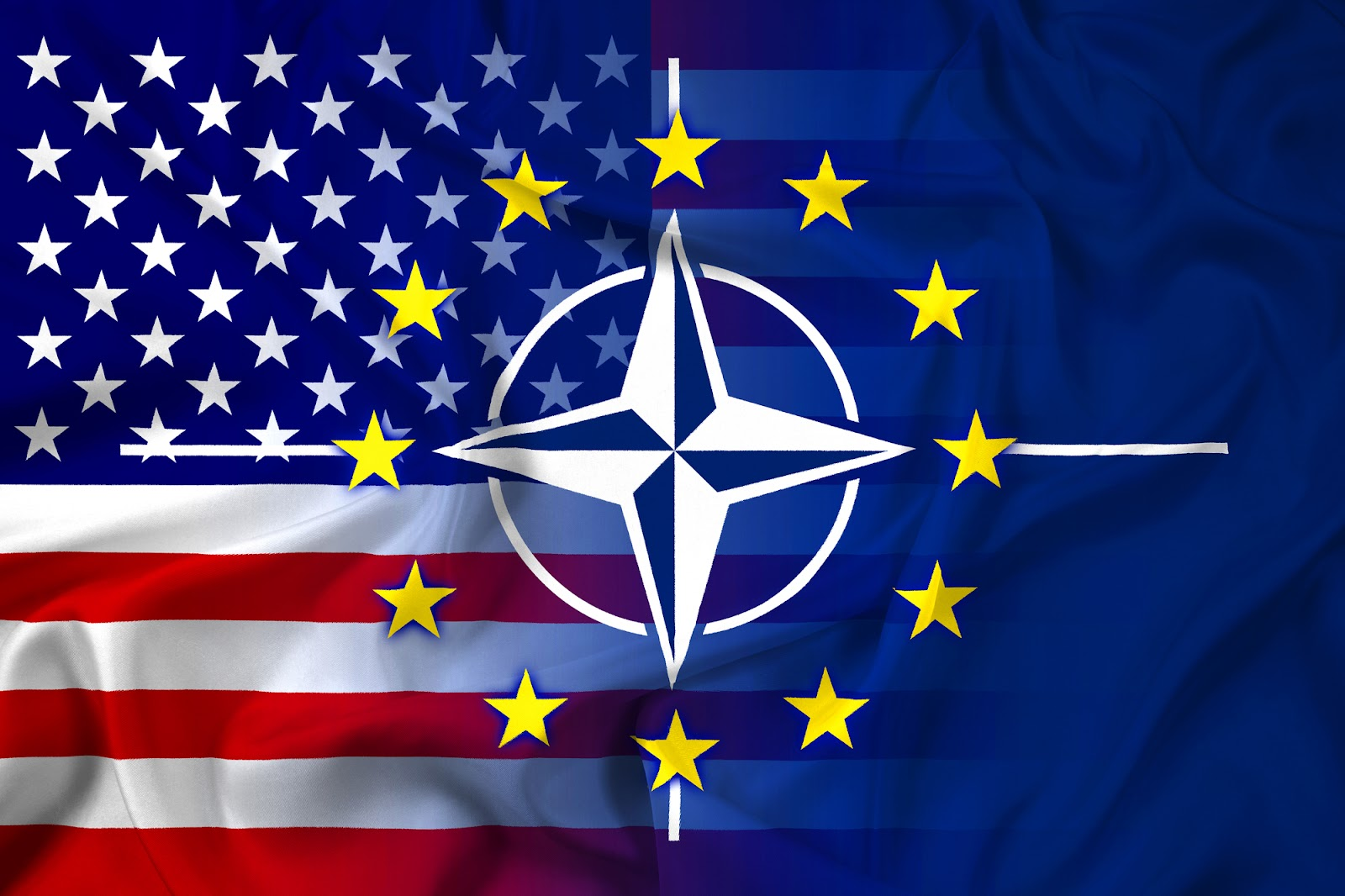 The nato sign with the american flag and the European stars