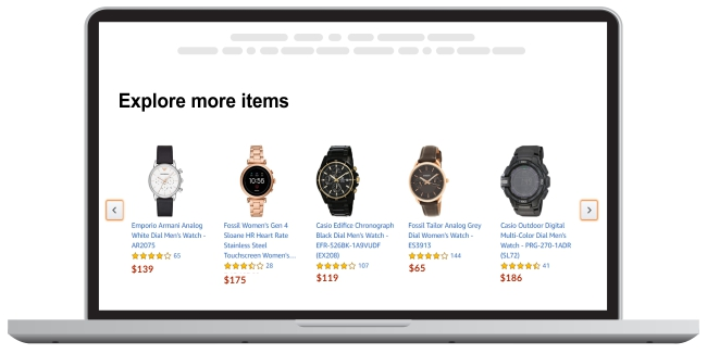 product recommendations across categories - based on past search data.
