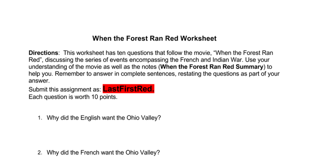 When the Forest Ran Red WS Google Docs – Restating the Question Worksheets
