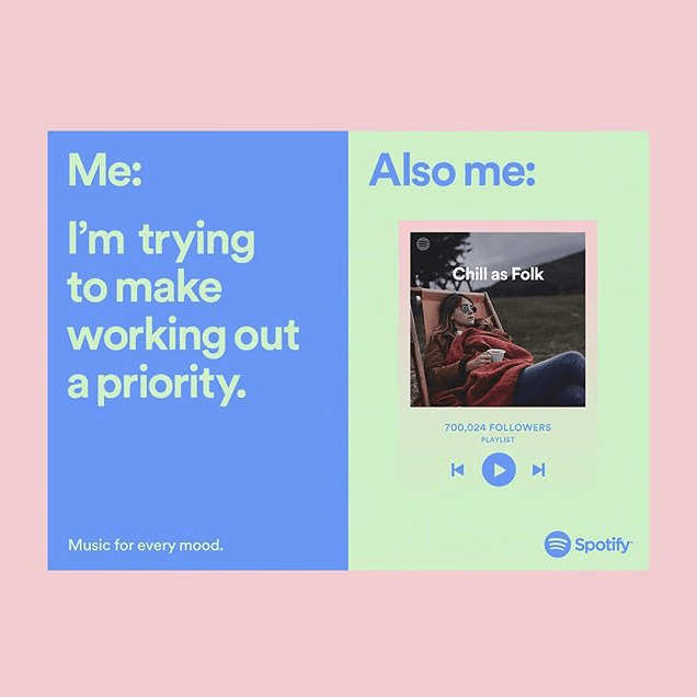 """A Spotify Ad, humorously comparing their listeners who try to make working out a priority to their popular """"Chill as Folk"""" playlist."""