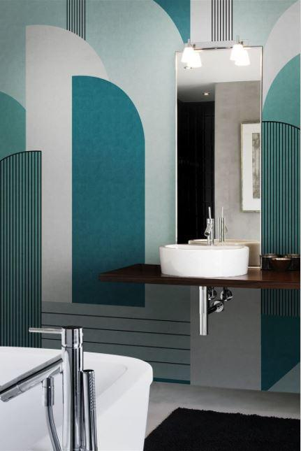 Une image contenant mur, intérieur, plancher, salle de bain  Description générée automatiquement