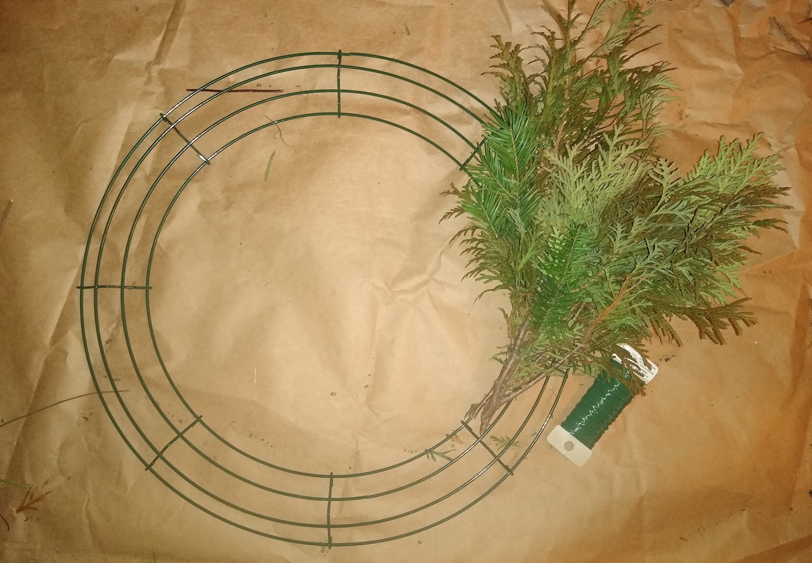 greenery bundles on Christmas wreath
