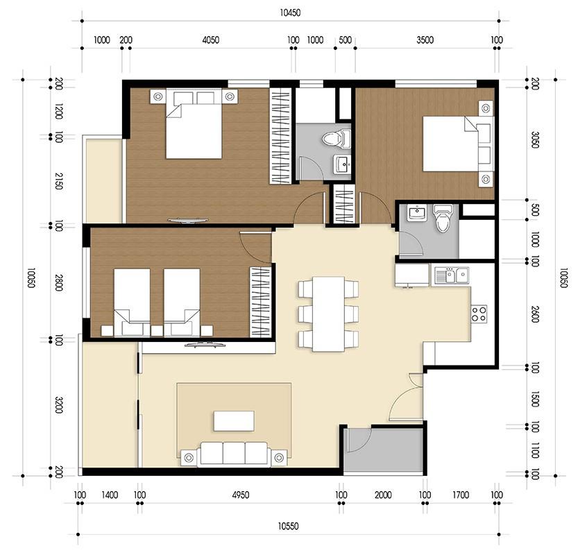 thiết kế căn hộ 3 pn