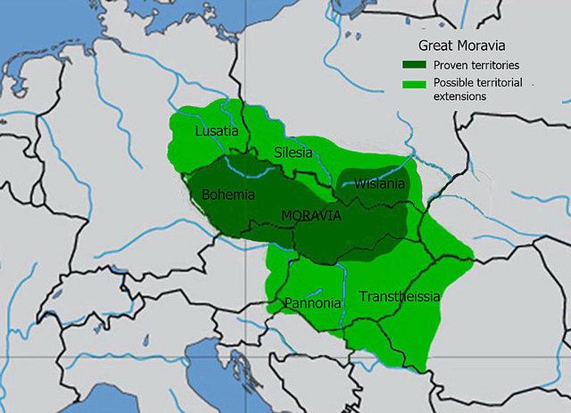 Zarys terytorialny państwa wielkomorawskiego za czasów panowania Świętopełka.