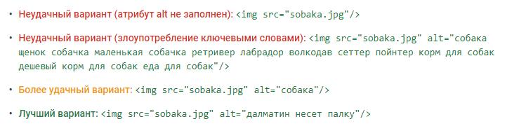 пример хорошего и плохого заполнения атрибута ALT из справочного центра Google