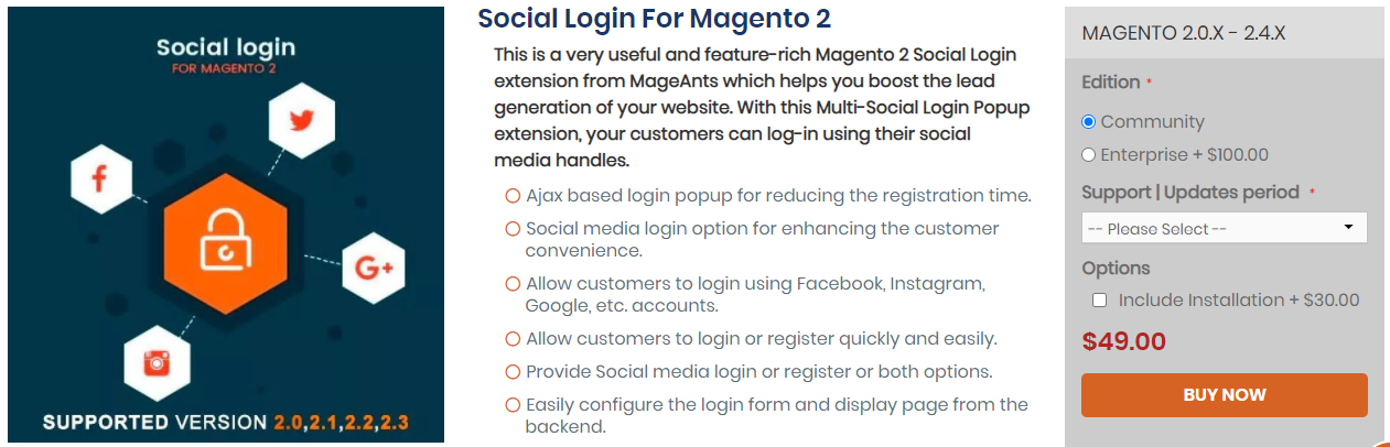 Social Login For Magento 2 by Mageants