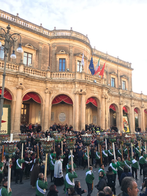 A saint day procession in Noto, Italy