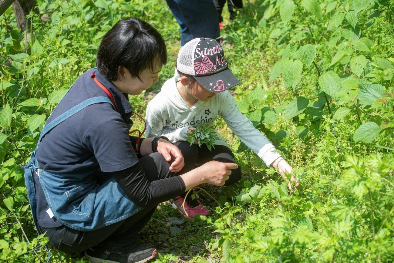 草の上にいる子供  中程度の精度で自動的に生成された説明