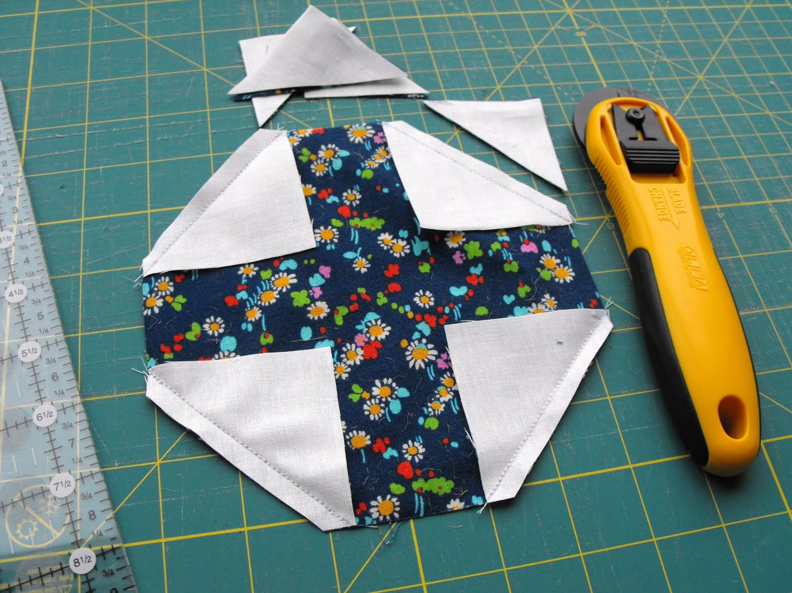 Cutting Fabric - Snowball Quilt Block
