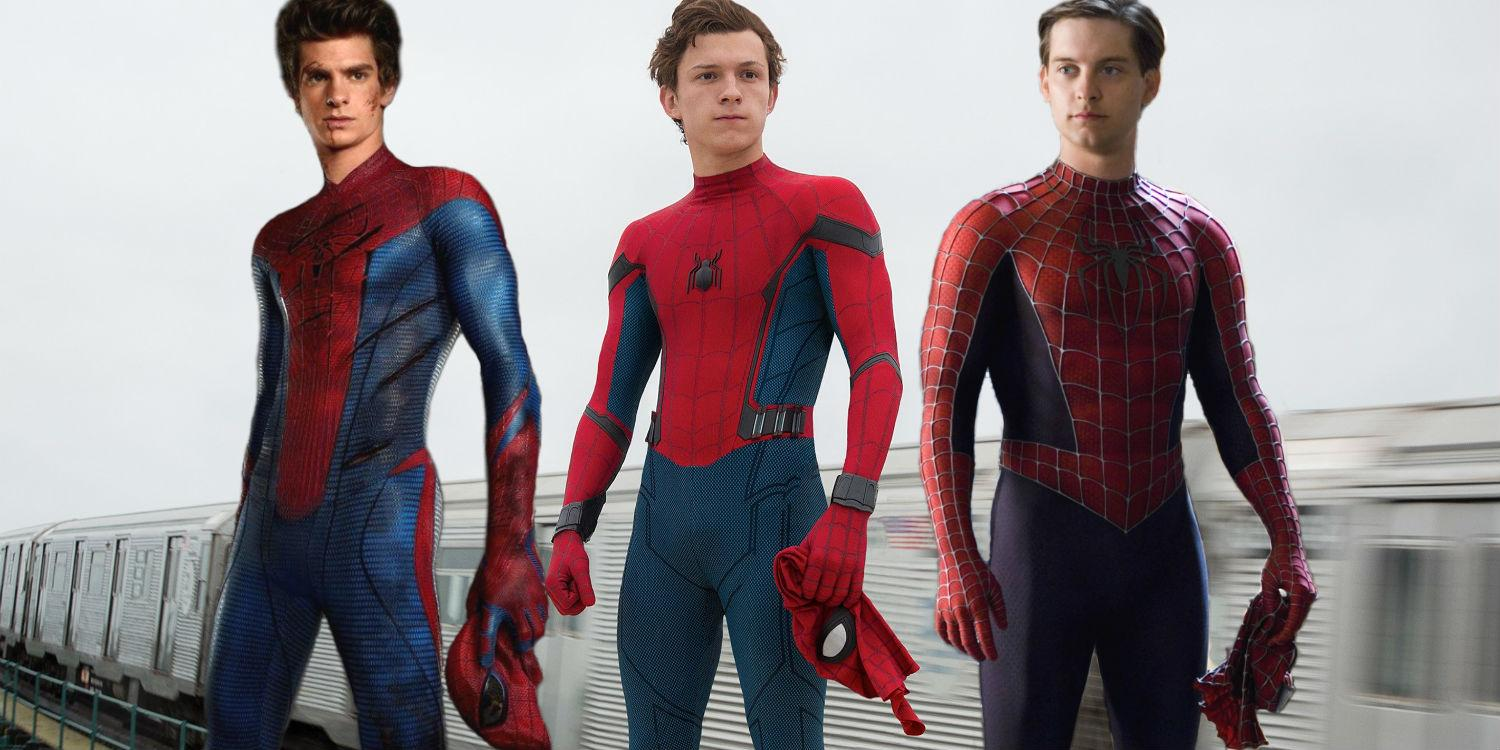 Image result for tobey maguire spiderman vs andrew garfield spiderman , tomholland