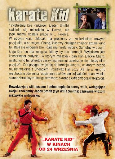 Tył ulotki filmu 'Karate Kid'