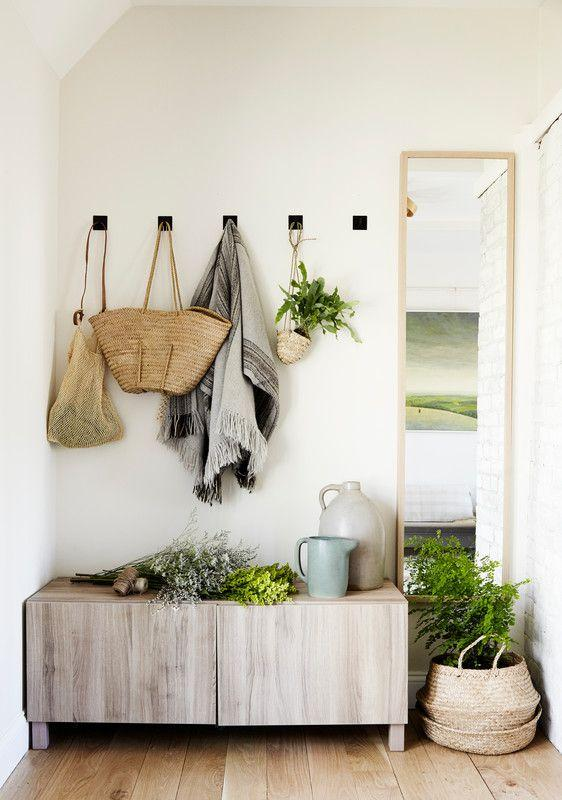 aplant-filled entryway with extra storage