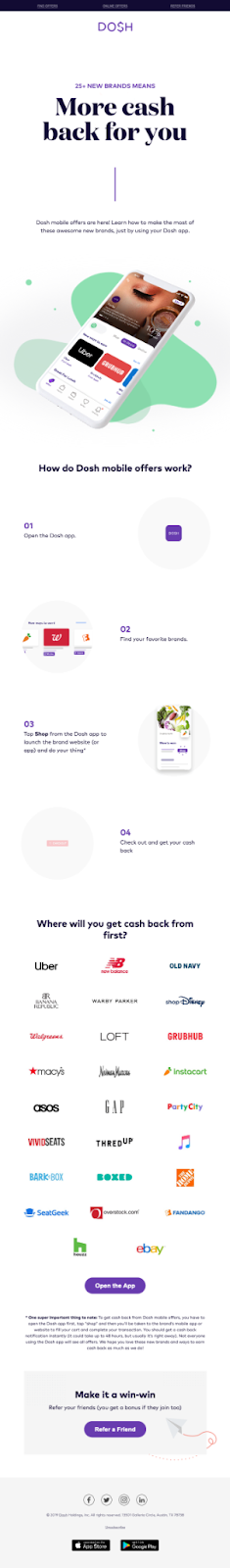 Email Blasts - Example From Dosh App