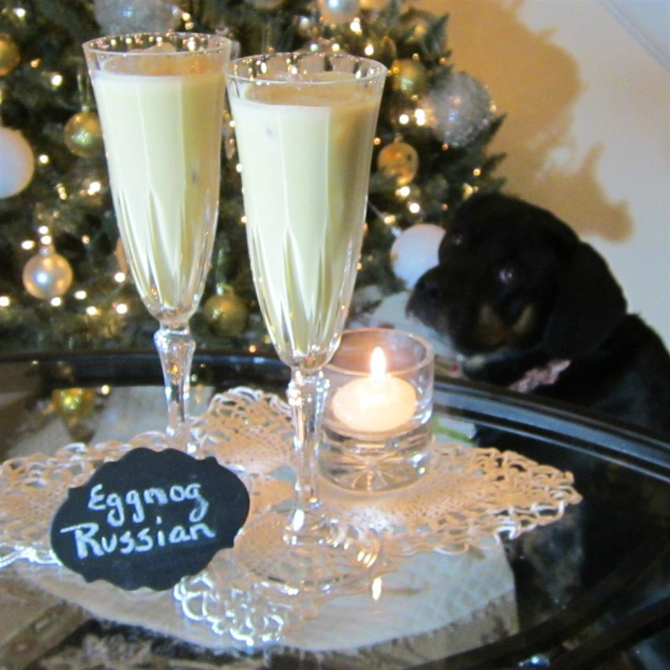 Eggnog, rum and Kahlua cocktail called Eggnog Russian in champagne flutes