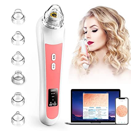 Blackhead Remover Vacuum,Sinohrd WiFi Visual Facial Pimple Sucker Pore Vacuum with 20X Microscope Camera,Electric Acne Comedone Vacuum Pore Cleaner Suction Tool Blackhead Removal with 6 Suction Pores
