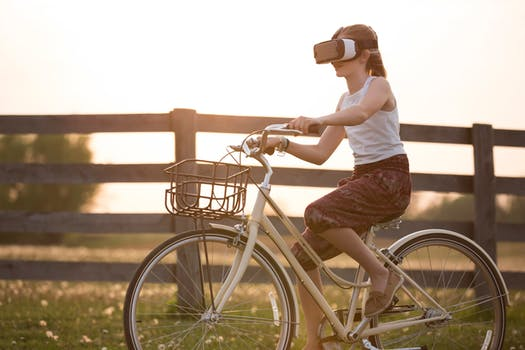 Virtual Reality Headset on Bicycle