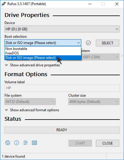 Rufus: Selecting Disk or ISO image