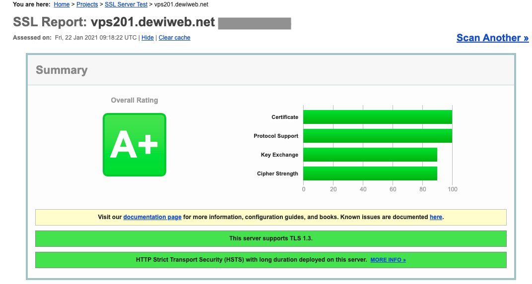 ssl labs report sertifikat ssl berhasil install di nginx server ubuntu 18.04