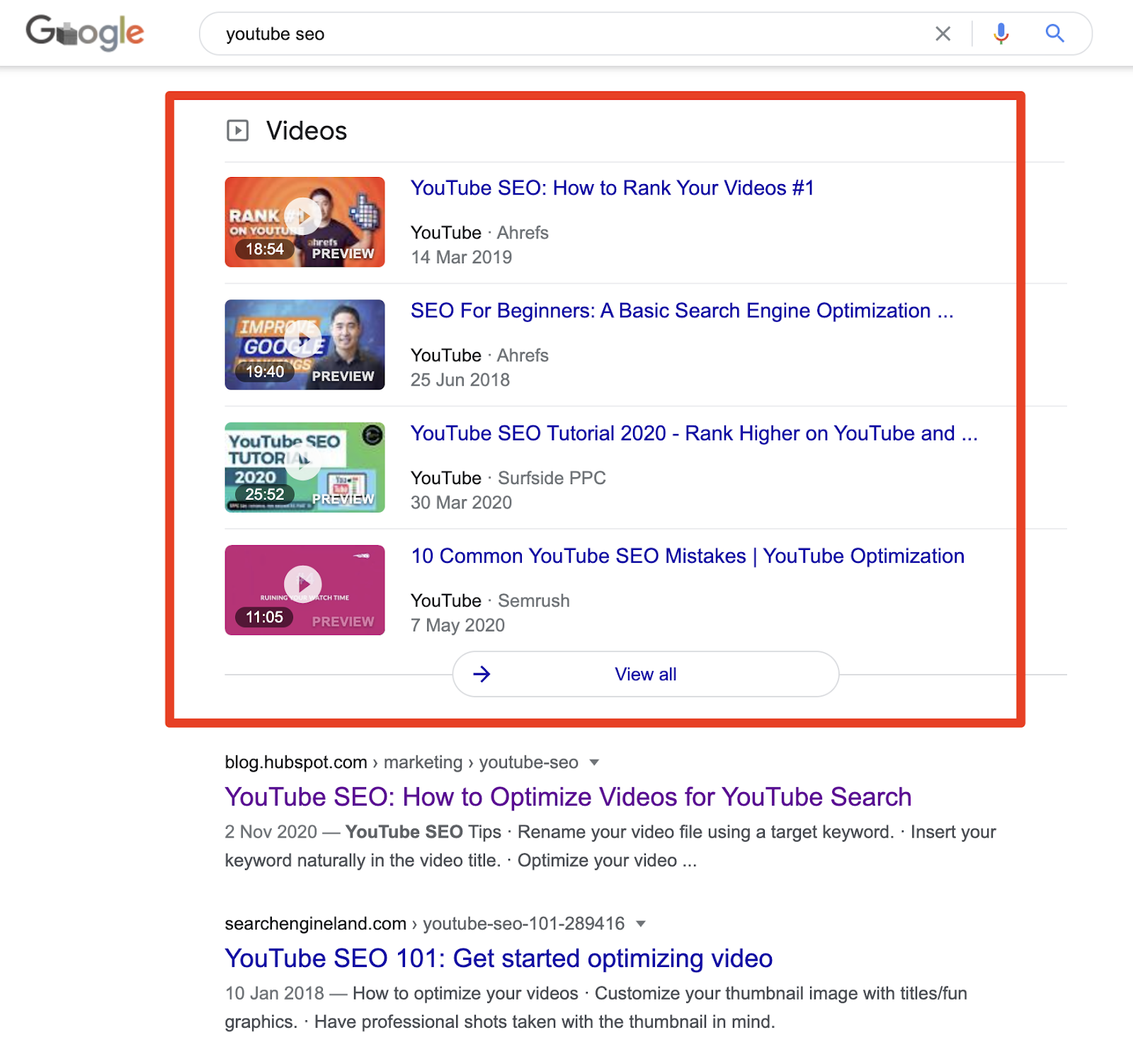 google video keywords search results