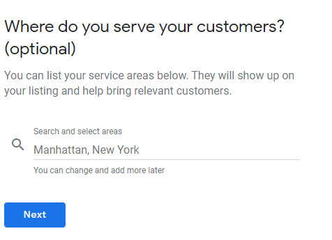 Type in your service areas