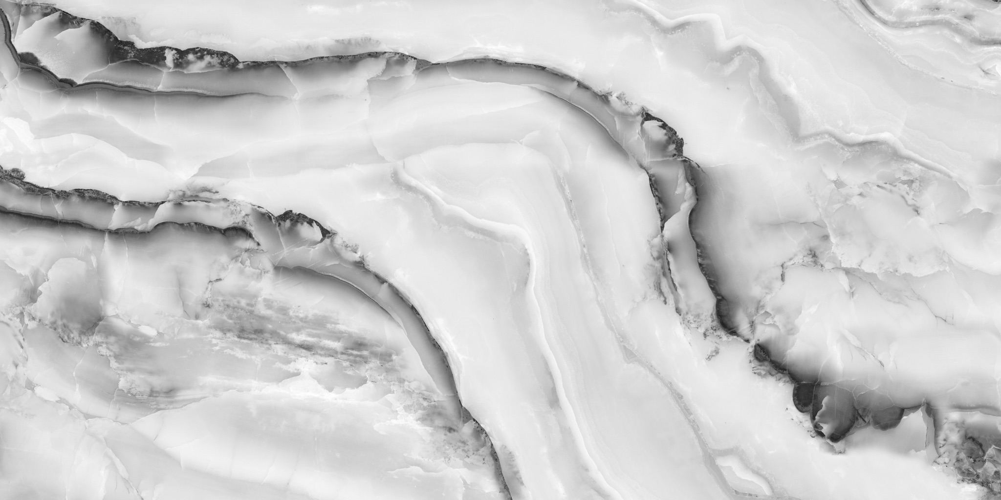 Close up of marble slab with white and gray veining