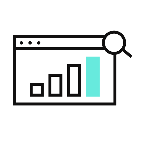 An icon of a a bar graph with a magnifying glass in front of it