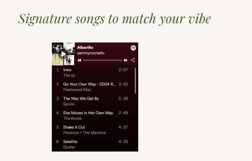 playlist on results page