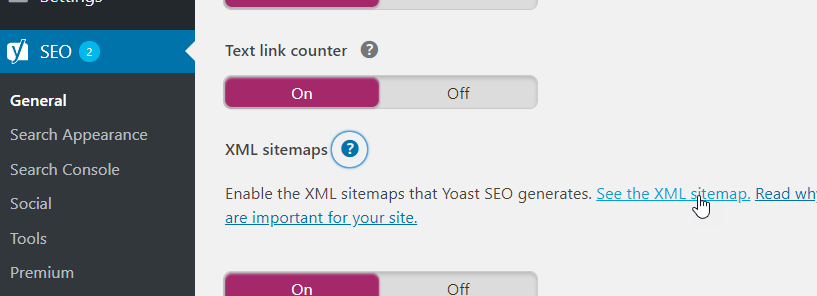 see XML sitemap
