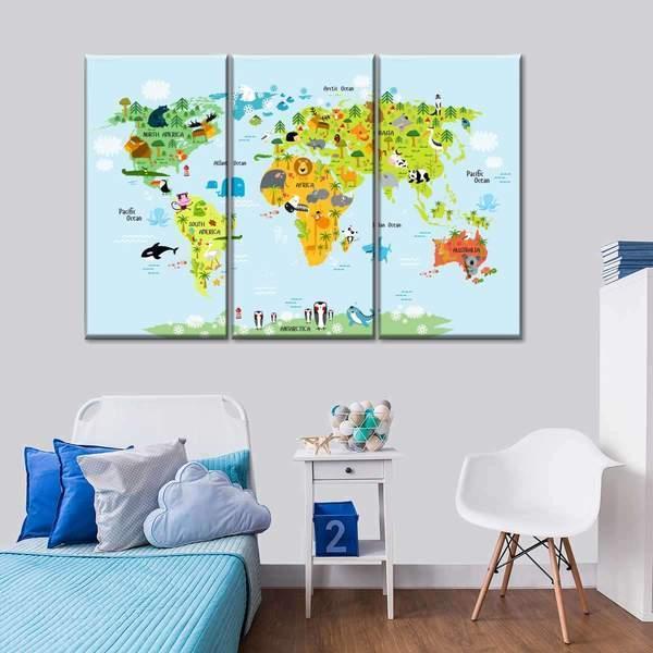 Nursery Animal World Map Multi Panel Canvas Wall Art