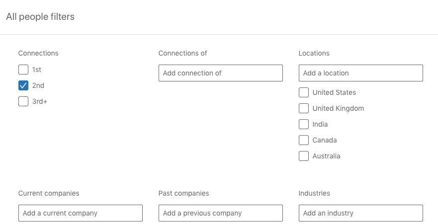 how to use LinkedIn's People Filters - other options