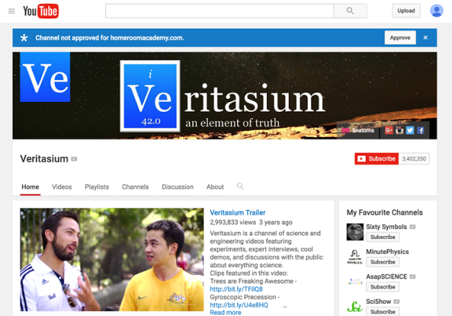 YouTube channel for Veritasium - screenshot