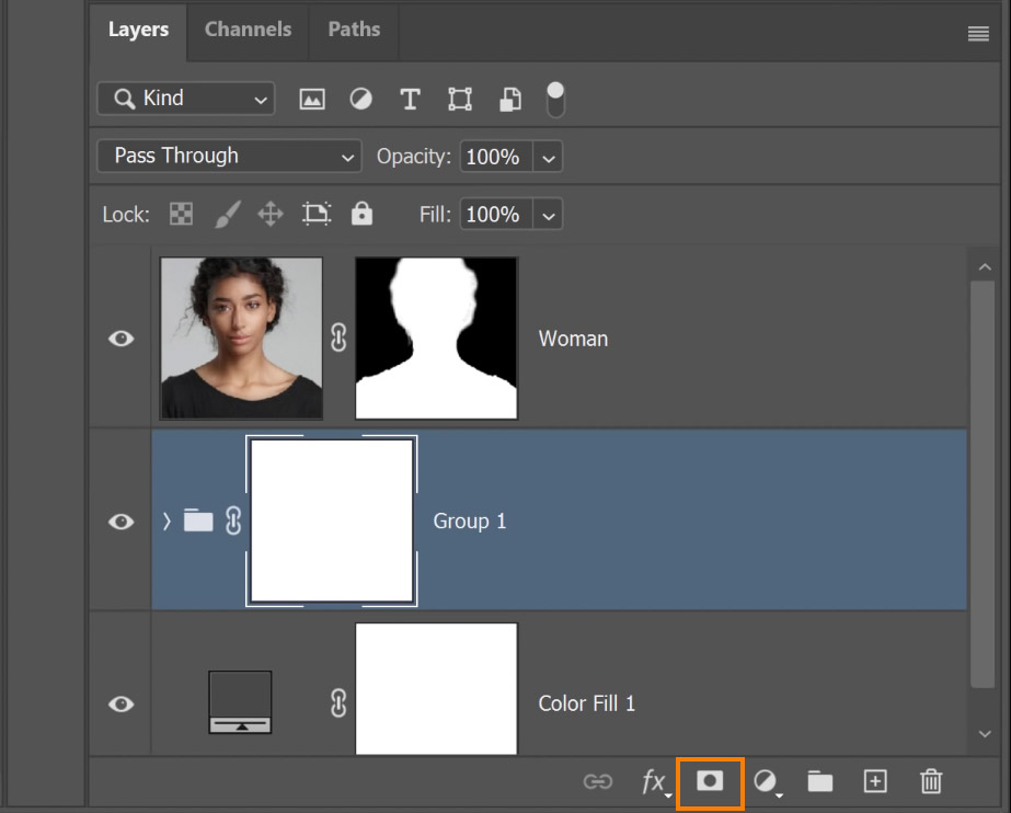 Click on the New Layer Mask with the Group selected to apply a layer mask to the group