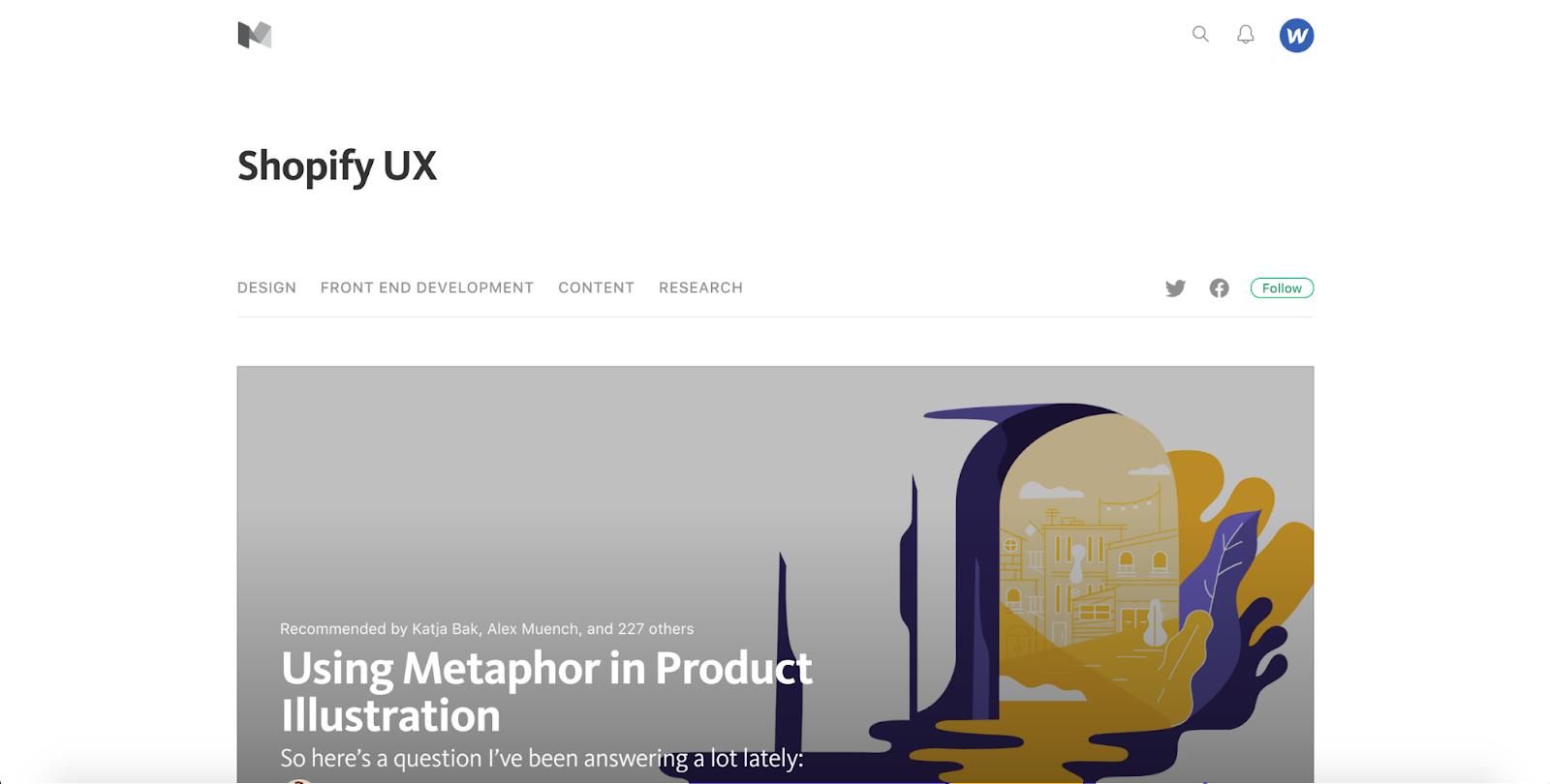 Shopify UX blog homepage
