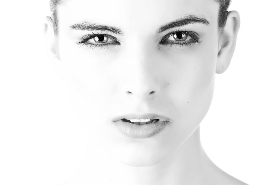 woman face in black and white clear skin
