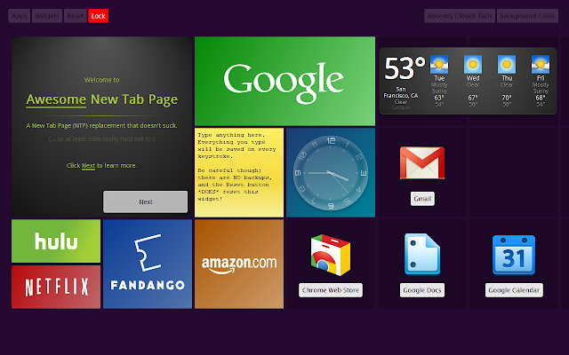 Chang Google Chrome with Awesome New Tab Page