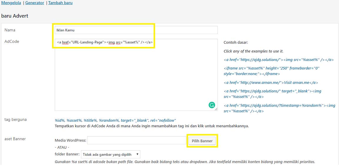 Cara Pasang Banner Iklan di WordPress - Isi AdRotate