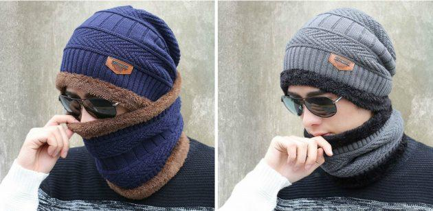 товары для зимы: тёплая шапка с шарфом