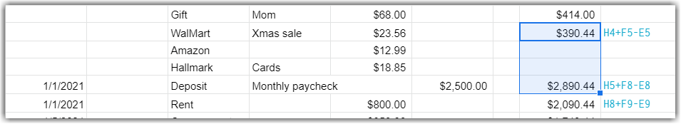 Google Sheet with cells highlighted, formula to formula