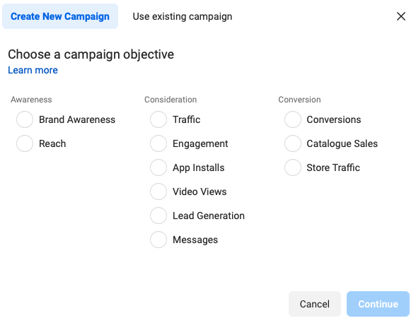 Creating a campaign objective in Facebook ad manager