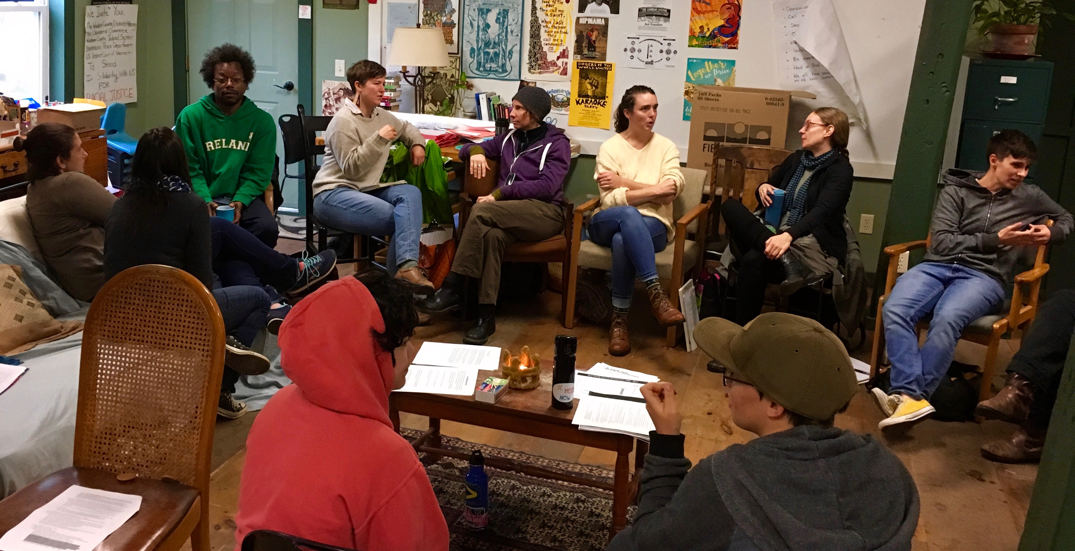 The photo below shows participants in the Fall 2016 circle, discussing class experiences in pairs