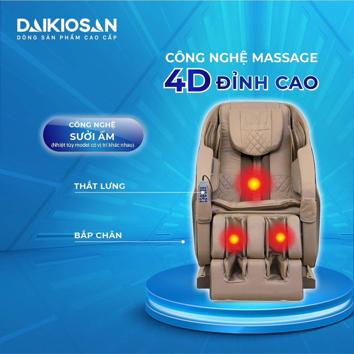 Ghế massage 4D công nghệ cao nhất hiện nay hỗ trợ điều trị thoái hóa cột sống