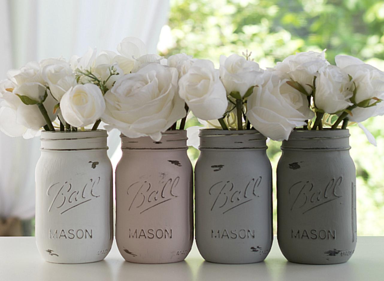 DIY wedding arrangement painted mason jar