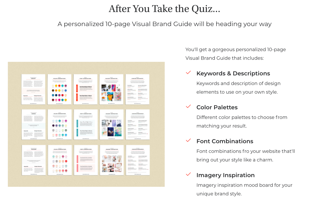 description of branding guide that comes with quiz result