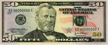 Descrição: Nota americana de cinquenta dólares