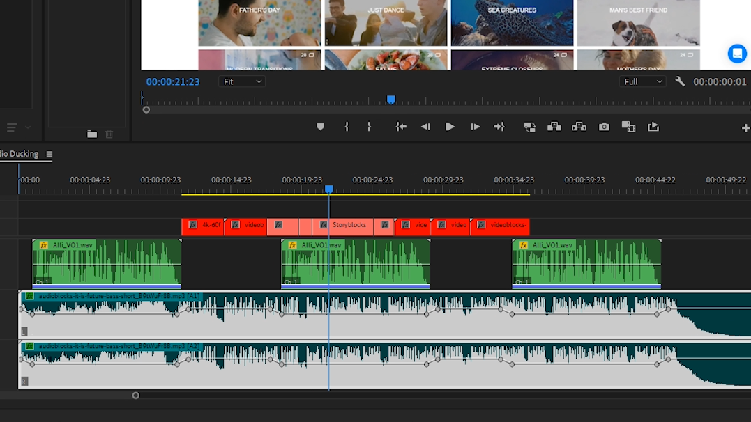 Premiere Pro - 'Essential Sound' adjustments for audio to reveal dialogue