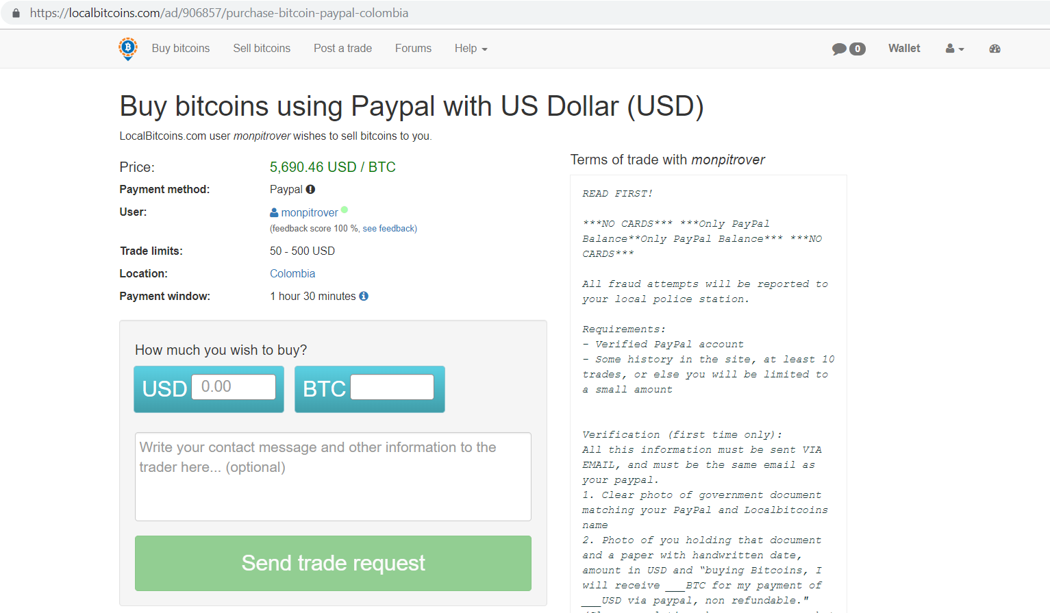Localbitcoins.com buy bitcoins using PayPal with US dollar.
